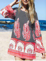 Long Sleeve Print Tunic Dress