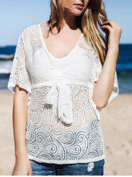Front Tie Lace Sheer Cover Up