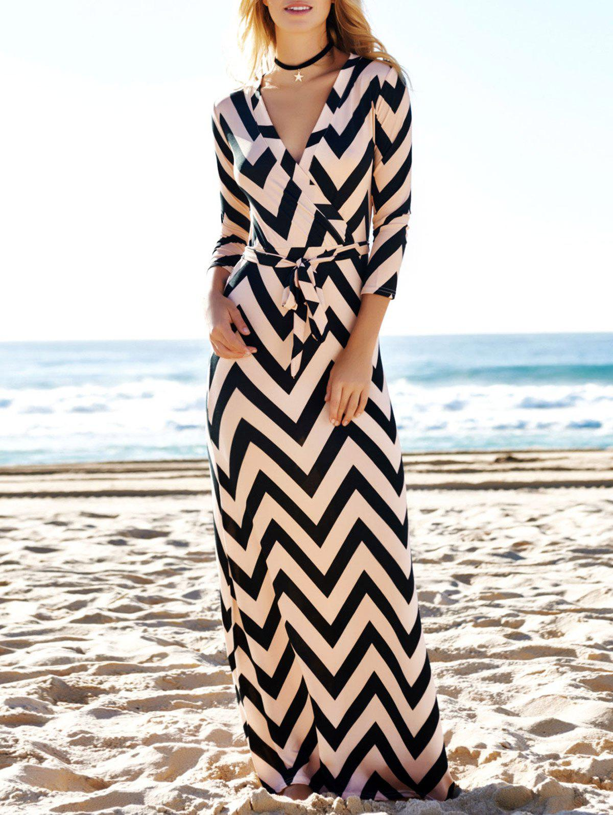 Affordable Stylish Plunging Neck 3/4 Sleeve Wave Printed Women's Maxi Dress