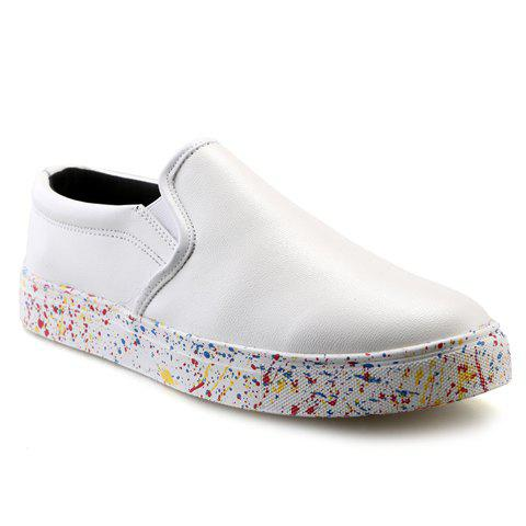 Shops Concise Solid Color and PU Leather Design Loafers For Men