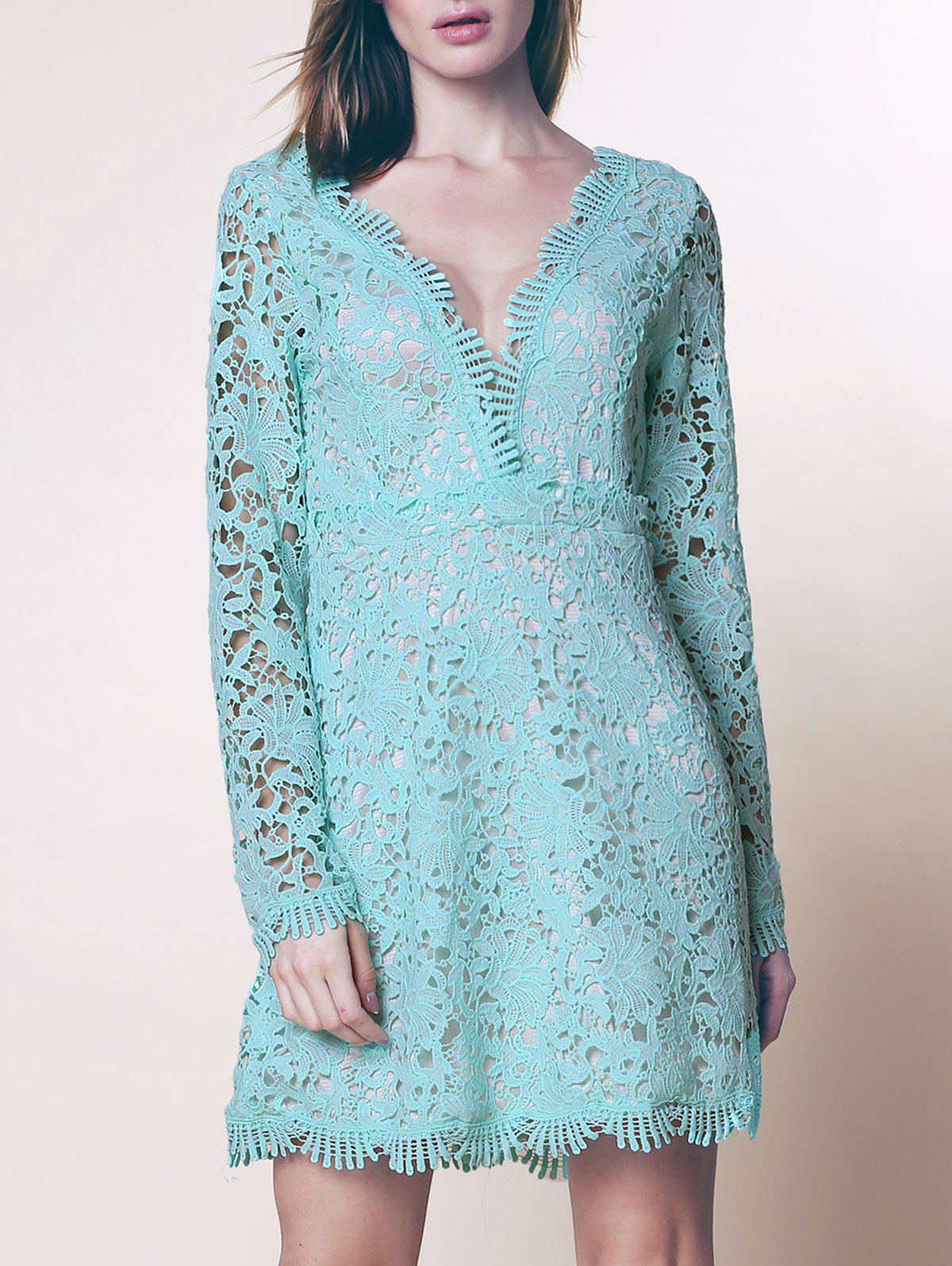 Discount Mini Plunge Long Sleeve Lace Backless Dress