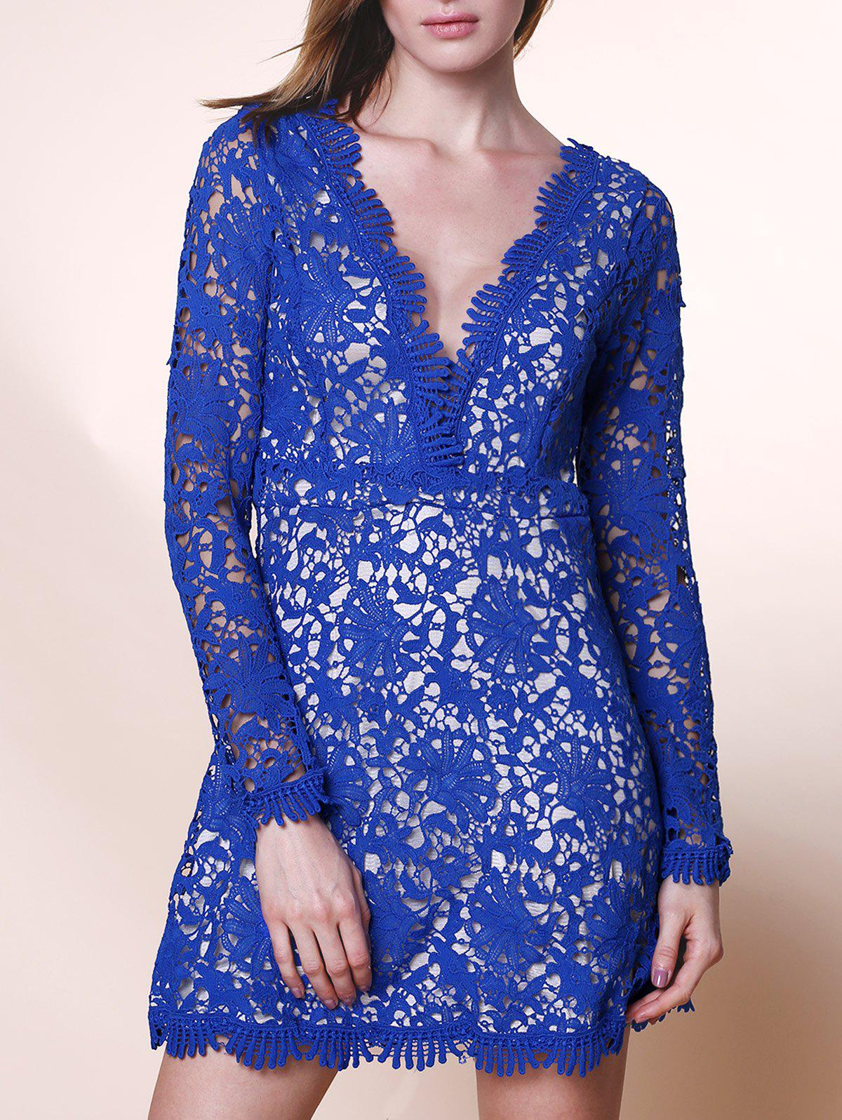 342d7f84fd9a 82% OFF   2019 Mini Plunge Long Sleeve Lace Backless Dress