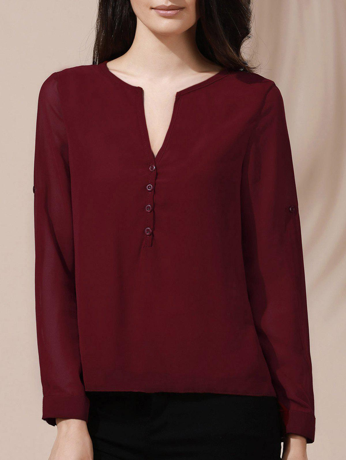 Chic Womens V-Neck Button Design Long Sleeve BlouseWOMEN<br><br>Size: XL; Color: WINE RED; Style: Streetwear; Material: Polyester; Shirt Length: Regular; Sleeve Length: Full; Collar: V-Neck; Pattern Type: Solid; Season: Spring,Summer,Fall; Weight: 0.190kg; Package Contents: 1 x Blouse;