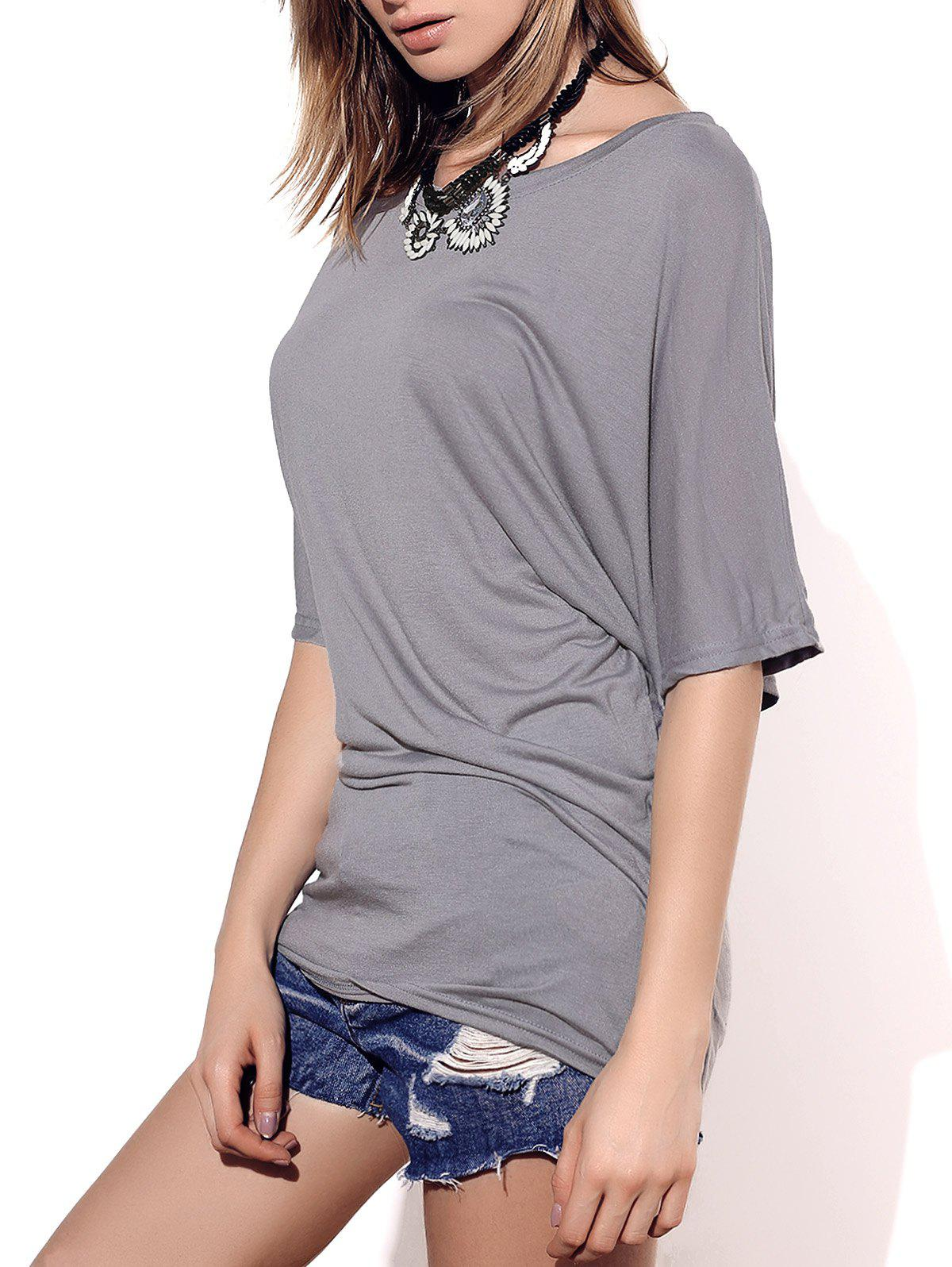 Boat Neck Short Sleeve Solid Color T Shirt 168033810