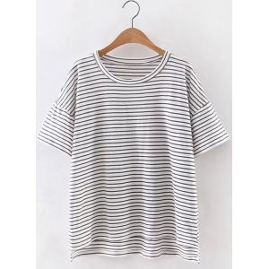 Simple Style Women's Jewel Neck Short Sleeve Striped T-Shirt
