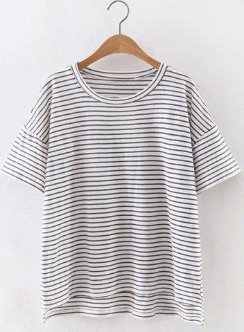 Cheap Simple Style Women's Jewel Neck Short Sleeve Striped T-Shirt STRIPE S