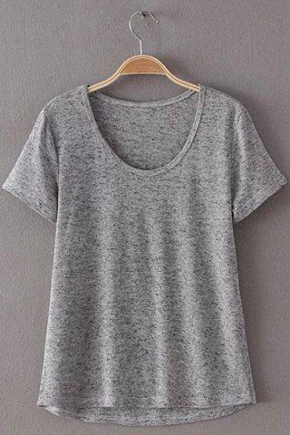 Unique Simple Style Women's Scoop Neck Short Sleeve Pure Color T-Shirt