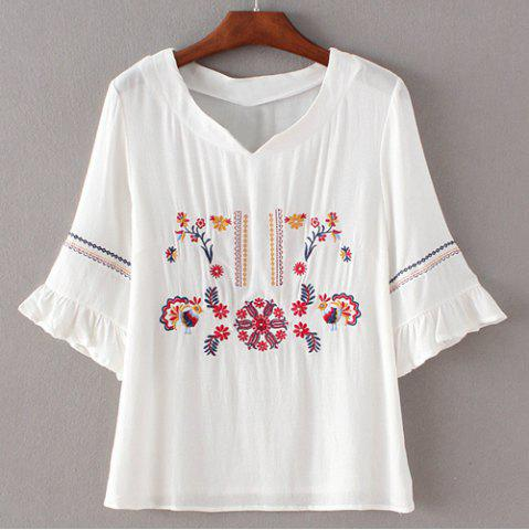 Online Simple Style Women's Embroidery Flare Sleeve Blouse