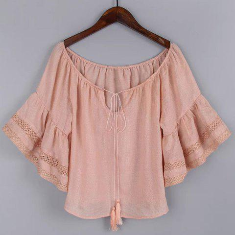 Latest Simple Style Women's Flare Sleeve Pure Color Jewel Neck Blouse