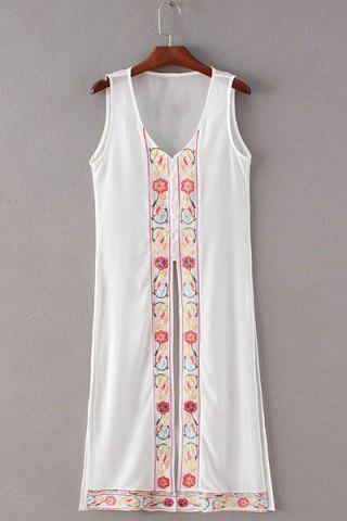 Hot Simple Style Women's V Neck Embroidery Tank Dress