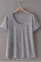 Simple Style Women's Scoop Neck Short Sleeve Pure Color T-Shirt -
