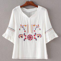 Simple Style Women's Embroidery Flare Sleeve Blouse -