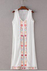 Simple Style Women's V Neck Embroidery Tank Dress -