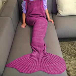 Exquisite Comfortable Drawstring Style Knitted Mermaid Design Throw Blanket - ROSE
