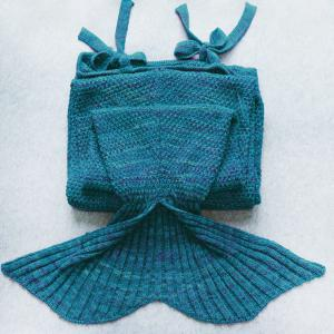 Exquisite confortable style Drawstring tricotée Mermaid design Throw Blanket - Turquoise