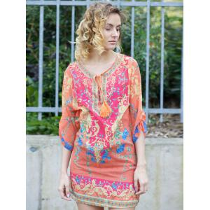 Chic Style V Neck 3/4 Sleeve Printed Shift Dress For Women - PLUM XL