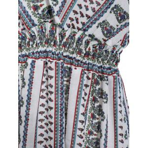 Trendy Plunging Neck Short Sleeve Printed Flounce Women's Dress -