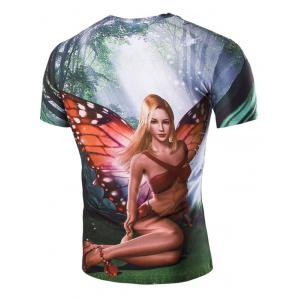 3D Beautiful Girl Printed Round Neck Short Sleeve T-Shirt For Men -