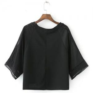 Fashionable Short Sleeve Black Hollow Out Women's Blouse -