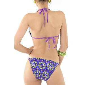 Stylish Halter Chained Floral Print Bikini Set For Women - DEEP BLUE M