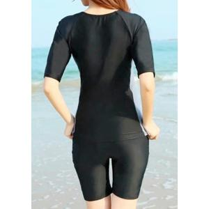 Brief Round Neck Color Block Zippered Short Sleeve Two-Piece Surf Swimsuit For Women -
