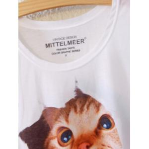 Simple Style Women's Cat Pattern Short Sleeve T-Shirt -