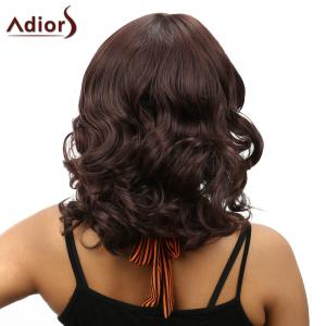 Stunning Full Bang Medium Capless Fluffy Curly Dark Brown Synthetic Wig For Women - DEEP BROWN
