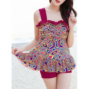 Ruffled Tankini Top and Boyleg Bottoms