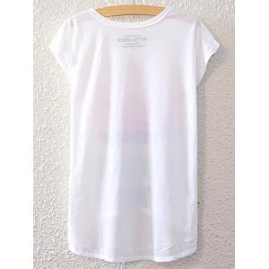 Simple Style Women's Feather Pattern Short Sleeve T-Shirt -