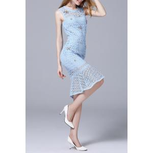 Beaded Hollow Out Lace Mermaid Dress -