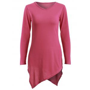 V Neck Asymmetric Mini T-Shirt Dress - Rose - L