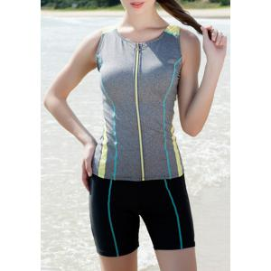 Sports Style Round Neck Color Block Zipper Two-Piece Swimsuit For Women