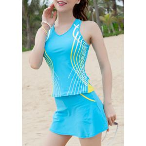 Sports Style V-Neck Color Block Racer Back Two-Piece Swimwear For Women -