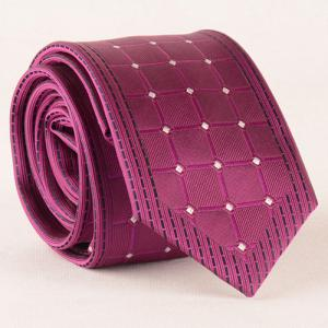 Stylish White Dot and Gingham Jacquard Rose Color Tie For Men - ROSE