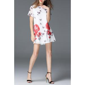 Round Collar Floral and Butterfly Print Dress -