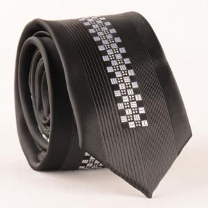 Stylish Small Checkered and Polka Dot Jacquard Black Tie For Men -