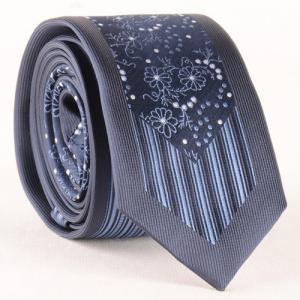 Stylish Flower Polka Dot Verticle Stripe Jacquard Tie For Men - CADETBLUE