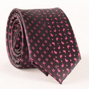 Stylish Rose Color Small Rhombus and Paisley Jacquard Tie For Men - BLACK