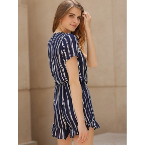 Active Cross-Over Collar Short Sleeve Striped Women's Playsuit -