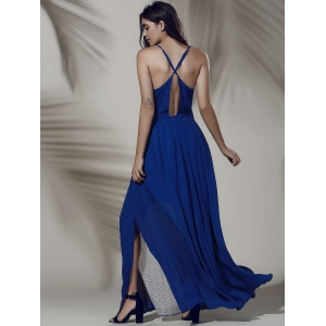 Empire Waist Open Back Robe Furcal Hit Color - Bleu saphir M