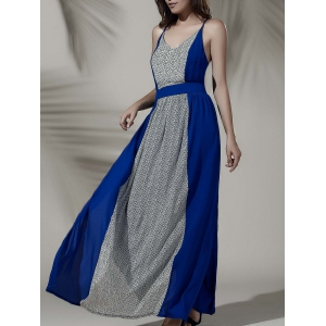 Empire Waist Open Back Furcal Hit Color Dress
