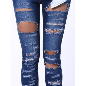 Mid Waist Ripped Jeans - DENIM BLUE XL
