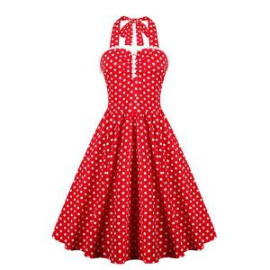 Halter Polka Dot 50s Vintage Dress - Red - L
