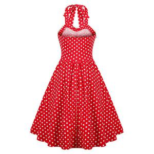 Halter Polka Dot 50s Swing Vintage Dress - RED 2XL