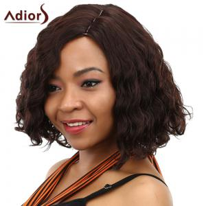 Fashion Short Side Parting Dark Brown Fluffy Curly Synthetic Adiors Wig For Women - DEEP BROWN