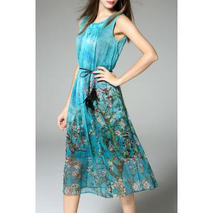 Belted Sleeveless Print Dress -