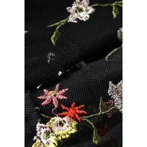 Tiny Floral Embroidered Sheer Dress - BLACK XL