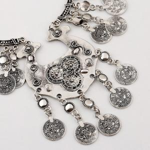 Carving Coin Tassel Necklace - SILVER