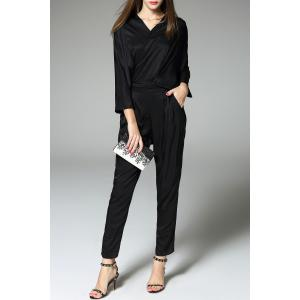 Solid Color Blouse and Pants Twinset -