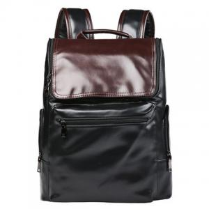 Preppy Style Color Block and Zip Design Backpack For Men - Black - 42